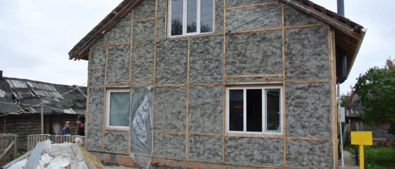 Утепление деревянного дома эковатой снаружи